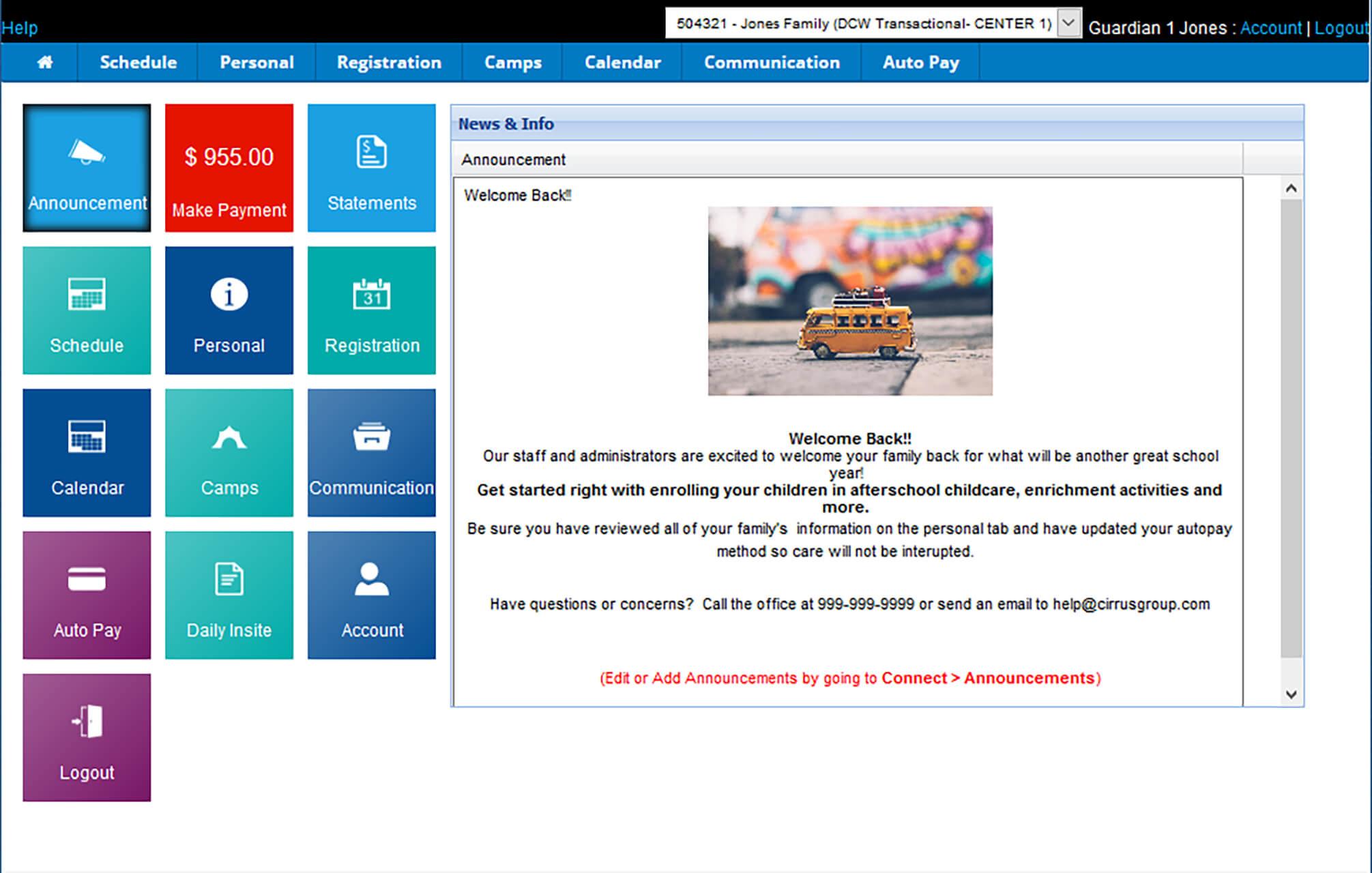 SchoolCareWorks Parent Portal Home
