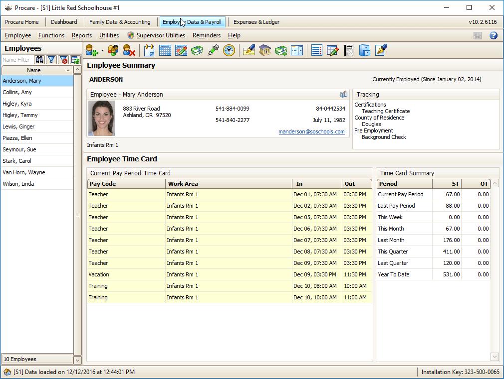 Procare Select Manage Staff Data & Information Screenshot