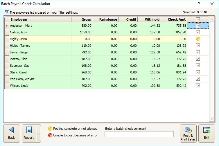 Procare Select Payroll Calculations Screenshot