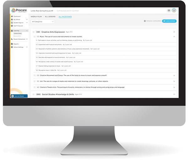Procare web milestones engagement on computer screen.
