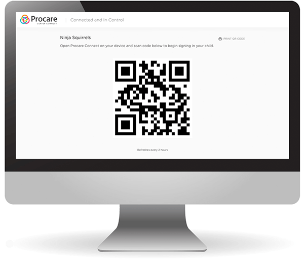 Procare web QR code sign in engagement on computer screen.
