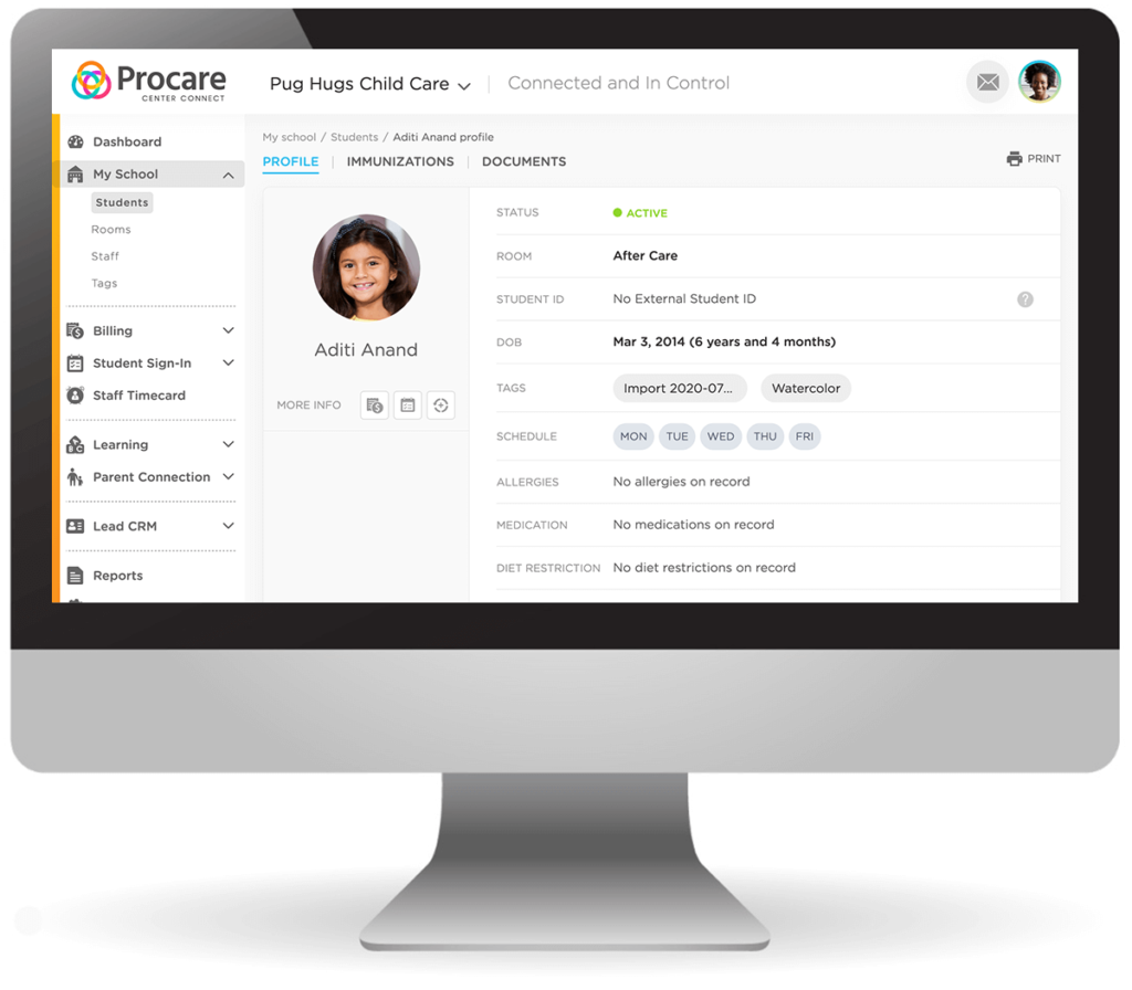 Procare Connect Student Attendance Tracking - Student Page