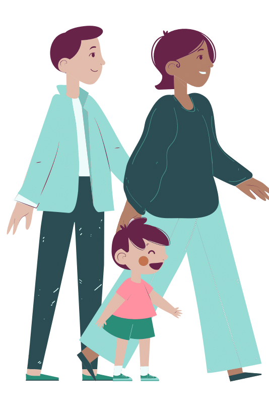 Illustration of parents walking with young child
